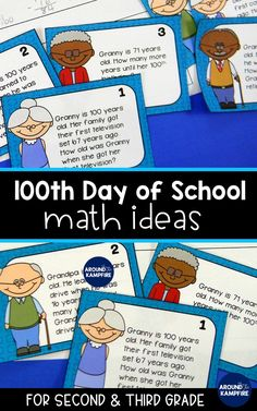 These 100th day activities for kids will give second and third grade teachers math ideas for celebrating the 100th day of school. 2nd and 3rd graders add and subtract to solve hundreds based word problems based on stories of a 100 year old Granny! These fun ideas for older kids are perfect for math centers and games on the 100th day of school!