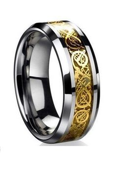Mens Ring Celtic Wedding Band Engagement Anniversary Dragon Tungsten Carbide New