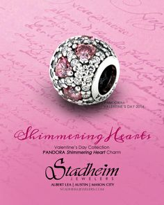 Pandora - Shimmering Heart Charm - Valentine's Day Collection - 2014