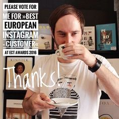 Oh my god! My personal account @lastguest_hh is nominated for Best European Instagram  Consumer in in the first ever European Coffee Trip Awards 2016 which means really a lot to me. So please please please vote for me (until tomorrow evening) and for all the other great places roasters packaging and so on. Thanks a lot! You can find the link to the voting in my profile @lastguest_hh  #ectawards2016 #specialtycoffee #thirdwavecoffee #hamburg