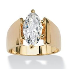 Undeniably exquisite contemporary solitaire ring showcases a carat marquise-cut cubic zirconia set in a wide-shank band. Sizes - Marquise-Cut Cubic Zirconia Solitaire Engagement Anniversary Ring TCW in Gold-Plated at PalmBeach Jewelry & Save Thick Band Engagement Ring, Solitaire Engagement, Solitaire Ring, Wide Band Diamond Rings, Modern Jewelry, Fine Jewelry, Jewelry Rings, Gold Jewellery, Jewelry Watches