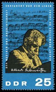 Albert Schweitzer auf Briefmarke  der DDR von 1965