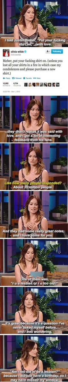 Olivia Wilde gets it