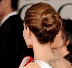 Angelina Jolie Golden Globes 2012 - love this bun!