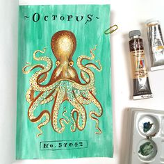 Octopus Journal Page by Angela Staehling in Strathmore 500 Series Mixed Media Art Journal