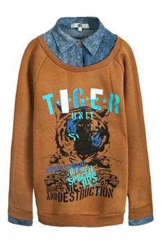 Tiger Print Sweatshirt with Turndown Collar Splicing $81.00