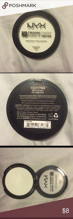 NYX HD Finishing Powder Mint Green, 0.28 OZ, Eliminates the appearance of shine while neutralizing redness, used twice NYX Makeup Face Powder