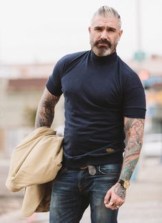 Our classic drop shoulder just got better. Epic vintage styling with our new turtleneck. Neck made from rib banned & introducing a banded bottom for a contoured fit. Made out of breathable cotton Sharp Dressed Man, Well Dressed Men, Daniel Sheehan, Older Mens Fashion, Style Masculin, Hommes Sexy, Mature Men, Good Looking Men, Beard Styles