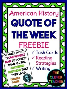 Are you ready to integrate social studies into your literacy block? Try American History QUOTE OF THE WEEK! This FREEBIE comes with 1 quote poster, a student worksheet that practices 5 literacy skills (1 per day), 4 task cards, & an answer key.