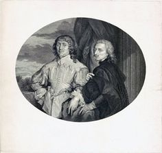 Portraits of Sir Endymion Porter and Sir Anthony van Dyck; both men standing in front of a column and draped curtain, half-length, their hands resting on a boulder; proof before letters; in an oval; after Anthony van Dyck  Engraving