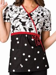 Cherokee Tooniforms Women's Big Minnie Print Mock Wrap Scrub Top  Style #  6625MKBM $24.99 http://www.medicalscrubsmall.com/print-scrubs/prints-disney-scrubs/cherokee-mkbm-minnie-top.asp
