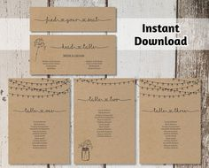 Wedding Seating Chart Printable Template by InstantInvitation
