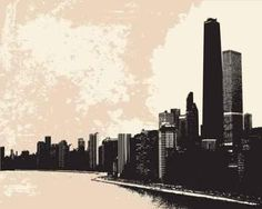 "Chicago Skyline - 48""W x 38""H - Peel and Stick Wall Decal by Wallmonkeys: Amazon.com: Home & Kitchen"