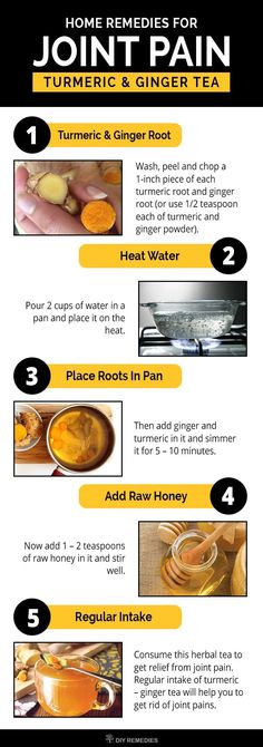 Home Remedies for Joint Pain  Turmeric has an effective compound called curcumin which has anti-inflammatory and antioxidant properties which are essential for treating your joint pains. #JointPains #Turmeric #GingerTea