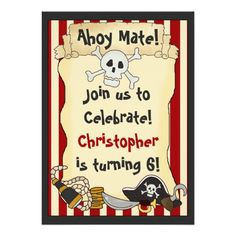 Ahoy Mate! Pirate Birthday Invitation for Boys