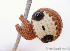 Meet Zippy the Baby Sloth! You can make Zippy with long arms to attach him to different things, or with short arms to sit around and look cute! Zippy is a very friendly little sloth, he needs lots of love, so be sure and give him all the cuddles!Stitches used (US terms):Single crochetSlip stitchSingle crochet increaseInvisible decrease