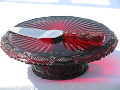 vintage Cape Cod pattern glass, Avon ruby red cake stand & server