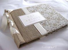 burlap and lace wedding decorations | Wedding Ideas / Burlap and lace guest book @Jennifer Milsaps L Britton ??