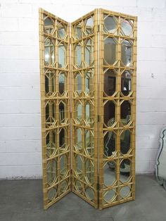 3 Panel Rattan and Mirror Floor Screen Room Divider For Sale at 1stdibs