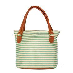 $270------->Bolso Beige Franjas Aqua. Bolso amplio y práctico de tela a rayas verde aqua y beige, con cómodas asas color café y detalles dorados.  Medidas: 30x32 cm Ancho: 12cm