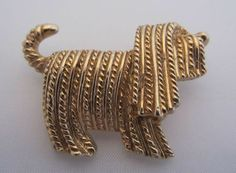 Vintage Costume Jewelry - Sarah Coventry Golden Sheep Dog Pin