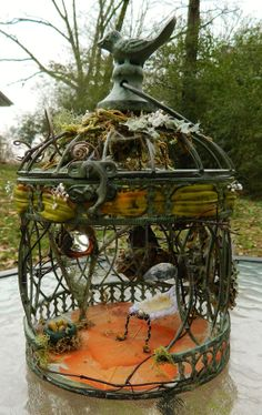 Fairy house fashioned from a birdcage style with by FayGlenLaurels, $55.00