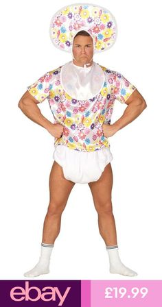d1d84b854f01 Mens Adult Big Baby Costume Floral Stag Do Fancy Dress Night Male Comical  Nappy