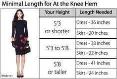 Guide for skirt and dress hem length | Follow Mode-sty offers stylish #modest clothing visit www.mode-sty.com