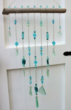 Gorgeous Aqua and Seafoam Green Wind Chime Sea Glass Wind Chime Beach Glass Wind Chime Crystal Wind Chime Jeweled Wind Chime by CathyCJewelsandDecor on Etsy