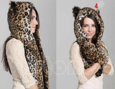55974b6315f Winter Faux Fur Hood Animal Hoods Hat Cap Cartoon Plush Hats With Scarf  Paws Sets Warm