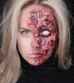 Half Burned Face Scary Halloween Makeup