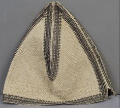 Dervish hat, white with black embroidery