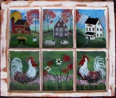 window pane barn quilts | Old six paned window with original chippy frame depicts reverse ...