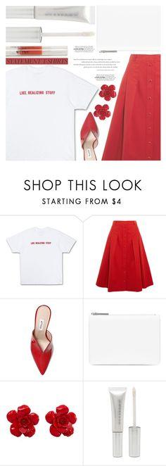 """Say It Loud: Slogan T-Shirts"" by aislinnhamilton1993 ❤ liked on Polyvore featuring Vanessa Seward, Attico, Maison Margiela, Chanel, Forever 21, redandwhite and slogantshirts"