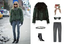 Roberto Cavalli fur biker jacket, $5,898; farfetch.com; Gucci brown, red, and green silk twill rosette-print scarf, $250; profilefashion.com; Oliver Peoples Brinley 54mm square sunglasses, $335; saksfifthavenue.com; Nudie Jeans gray long john ash jeans, $180; liberty.co.uk; Jimmy Choo Arena black leather ankle boot, $850; savannahs.com; Reiss Rorie hinge detail skinny belt, $115; bloomingdales.com - Photo: (clockwise from left) Courtesy of Getty Images; Courtesy of farfetch.com; Courtesy of…