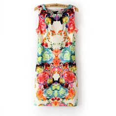 Retro print Slim Short Dress