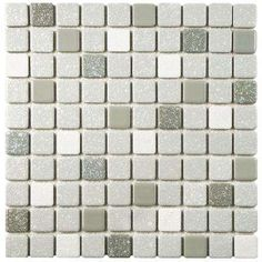 Crystalline Square Grey 11-3/4 in. x 11-3/4 in. x 5 mm Porcelain Mosaic Tile