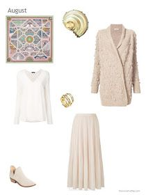 a skirt outfit in ivory and beige, including the Hermes Flanerie a Versailles scarf