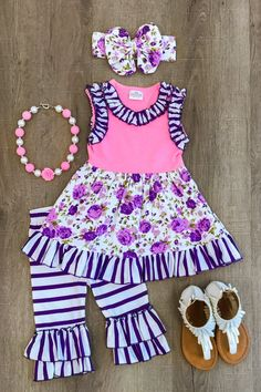 The Aubree Purple Floral Ruffle Capri Set