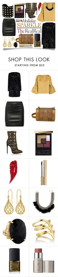 """Holiday Sparkle With The RealReal: Contest Entry"" by ittie-kittie ❤ liked on Polyvore featuring Wallis, Bottega Veneta, The Row, Chanel, Alaïa, Yves Saint Laurent, Charlotte Tilbury, Dolce&Gabbana, Elements and Bar III"