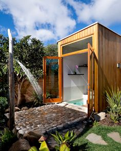 A whole bunch of outdoor shower and bathroom ideas! I <3 the idea of an outdoor shower...someday! :)