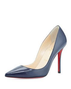 Apostrophy Pointed Red Sole Pump, Navy by Christian Louboutin at Neiman Marcus. 100mm