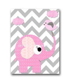 Elephant Bird Baby Girl Nursery art print par artbynataera sur Etsy