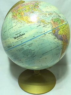 "Replogle World Nation Series Vintage Globe Raised Topographical 12"" +Metal Stand"