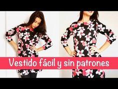 Cómo hacer un vestido muy fácil y sin moldes | DIY - YouTube Diy Vestido, Kimono, Sewing, Blouse, Womens Fashion, Clothes, Tops, Dresses, Ideas