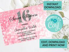 Pink Bokeh Lights Silver Glitter Sparkle Sweet 16 Invitation #94 | Digital INSTANT DOWNLOAD Editable Invite | Sweet Sixteen Birthday by PurplePaperGraphics on Etsy