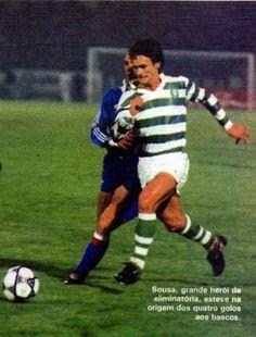 Antonio Sousa - Epoca 1985-86. Grande heroi das duas eliminatorias contra o Atletico de Bilbao na Taca UEFA, esteve envolvido e na origem dos 4 golos aos Bascos. O terceiro de livre em Alvlade levantou o Estadio.