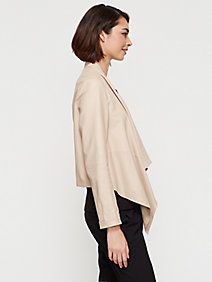 Drape Front Jacket in Lightweight Drapey Leather, EF