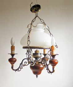 Vintage Victorian Style Italian Light Fitting 3 Arm 4 Bulb Wood & Brass with Glass Shade by UpStagedVintage on Etsy