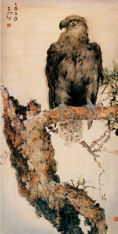 Hawk or eagle - by Yang Shan Shen (1913 - 2004), China. Lingnan School.